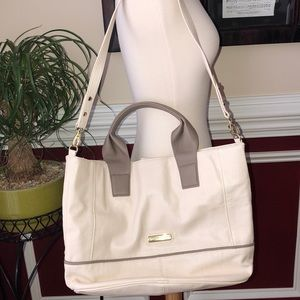 Steve Madden EUC cream and taupe bag